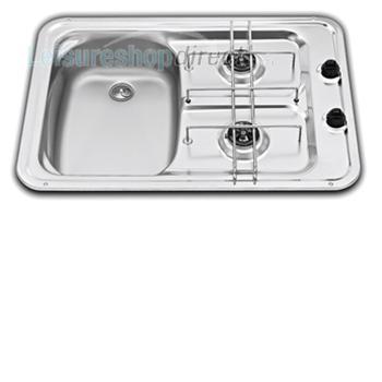 Smev Caravan 2 Burner Hob Sink L/Hand 600x420