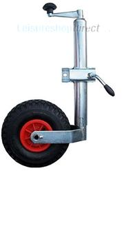 Caravan Jockey Wheel + Shaft 48mm Pneumatic Tyre Inc Clamp; also suitable as a trailer jockey wheel
