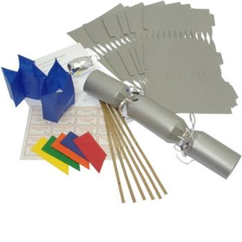 "10 X Make your own Large (14"" / 35cm) Christmas cracker kits - Silver image 2"