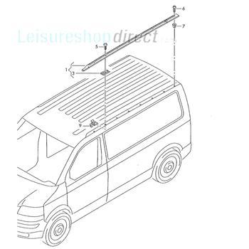 VW T5 Roof Rail Off Side (Short Wheel Base)