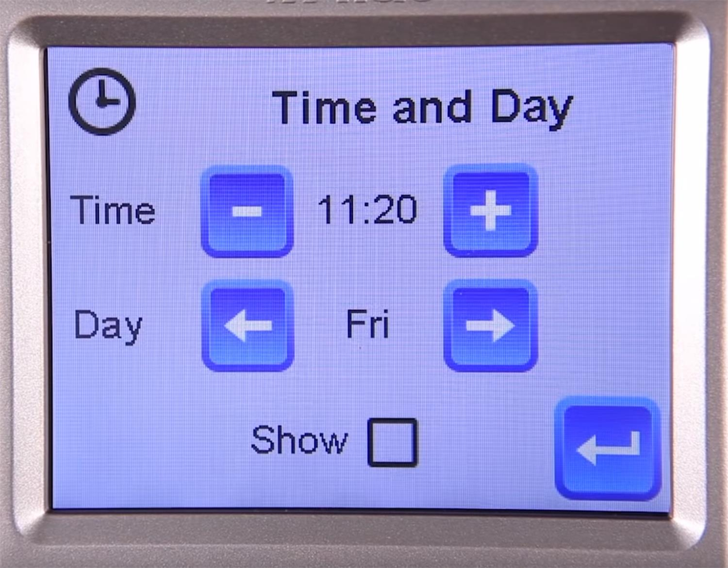 Alde 3020 Control panel- setting the time and day.