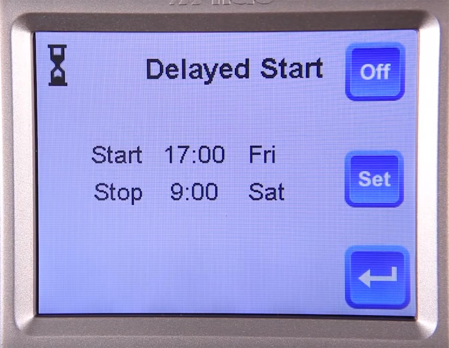 Alde 3020 Control panel on delayed start screen.