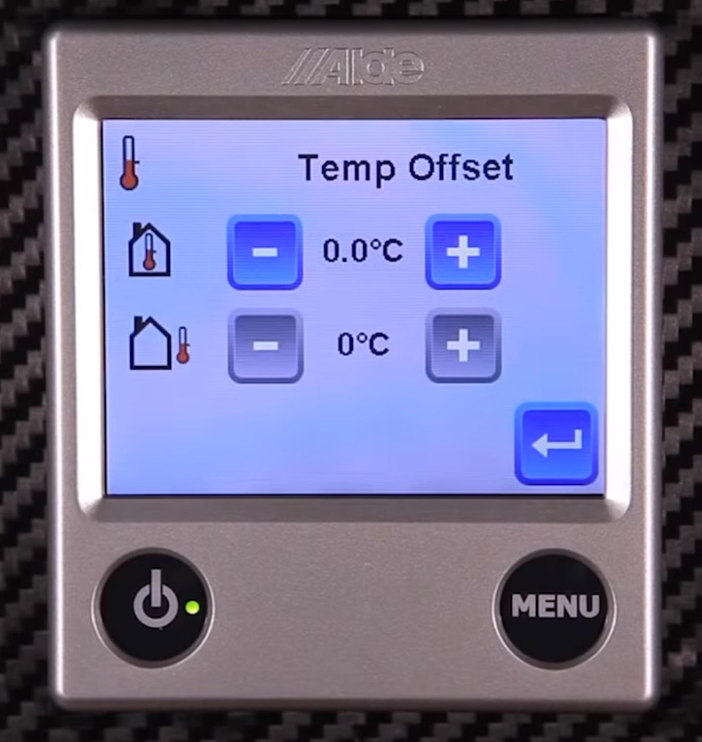 Alde 3020 Control panel on offset temperature screen.