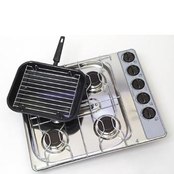 Spinflo 4 Burner Hob And Grill, Stainless Steel
