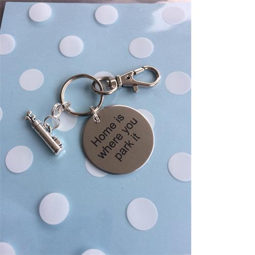 'Home is where you park it' key ring with golf clubs charm Perfect christmas/ birthday gift