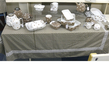 Large Table Cloth- Brown With Polka Dots And Stripes