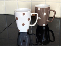 Tea Or Coffee Mug- Brown With Polka Dota