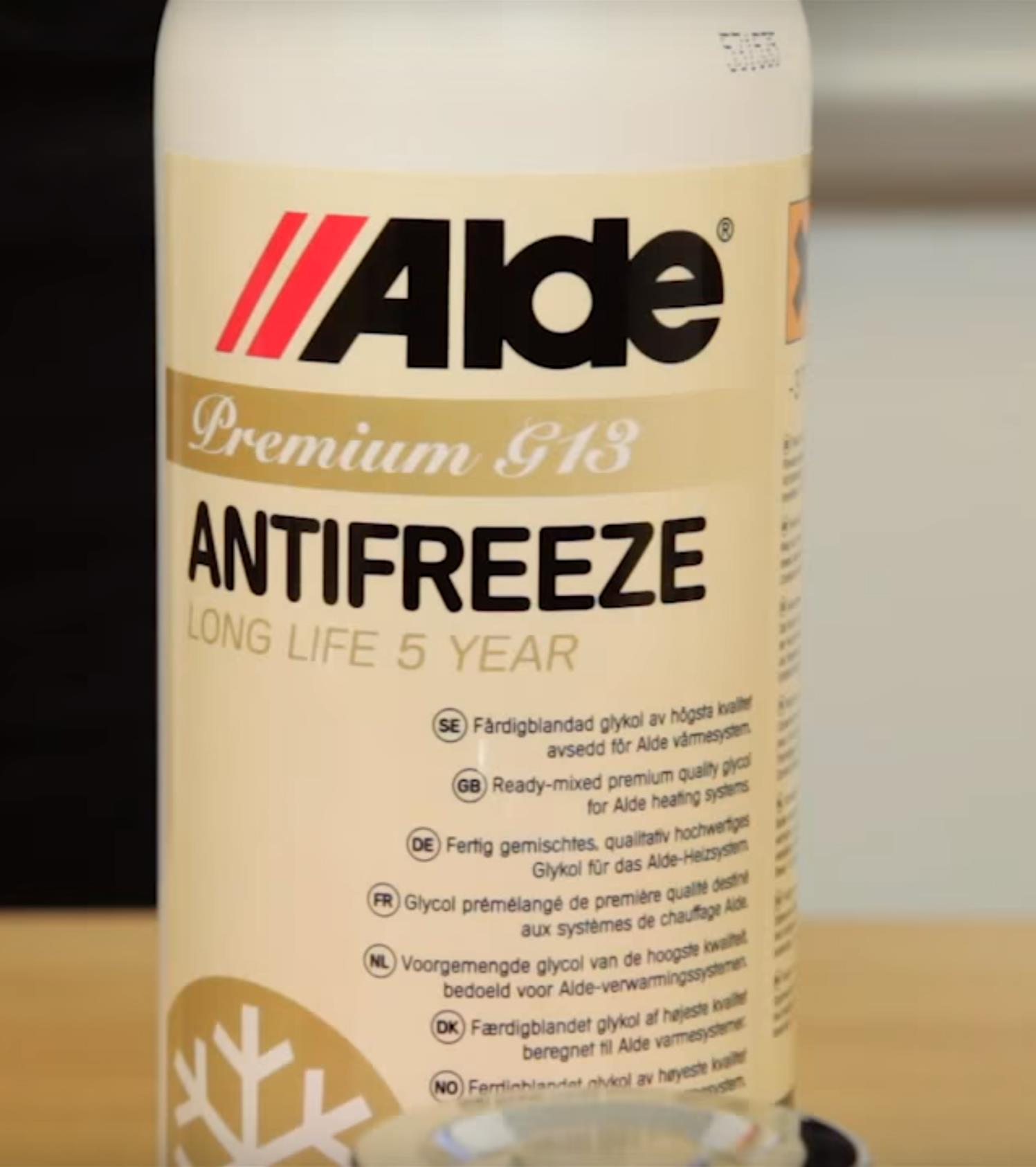 Alde's GS13 Antifreeze liquid.