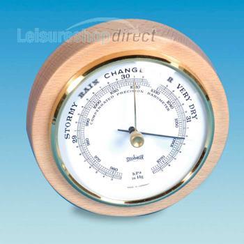 Round Barometer with Beachwood Surround