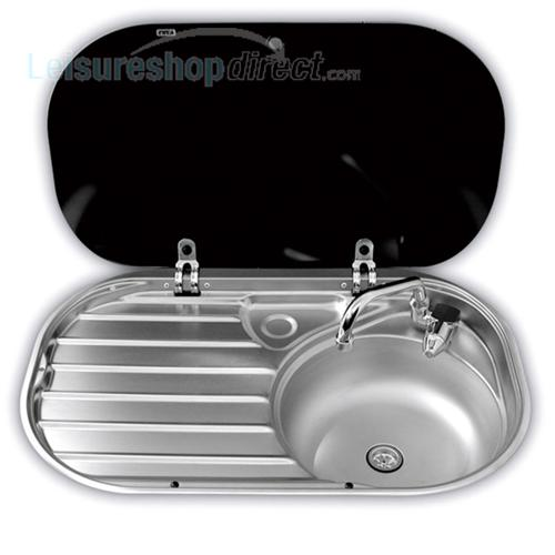Smev 8306 Caravan Sink with Drainer with Glass Lid and Tap
