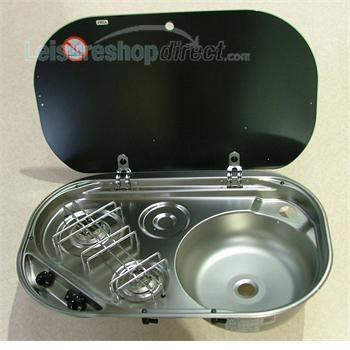 SMEV  8302  2-Burner Build-In Combi Unit and Glass Lid