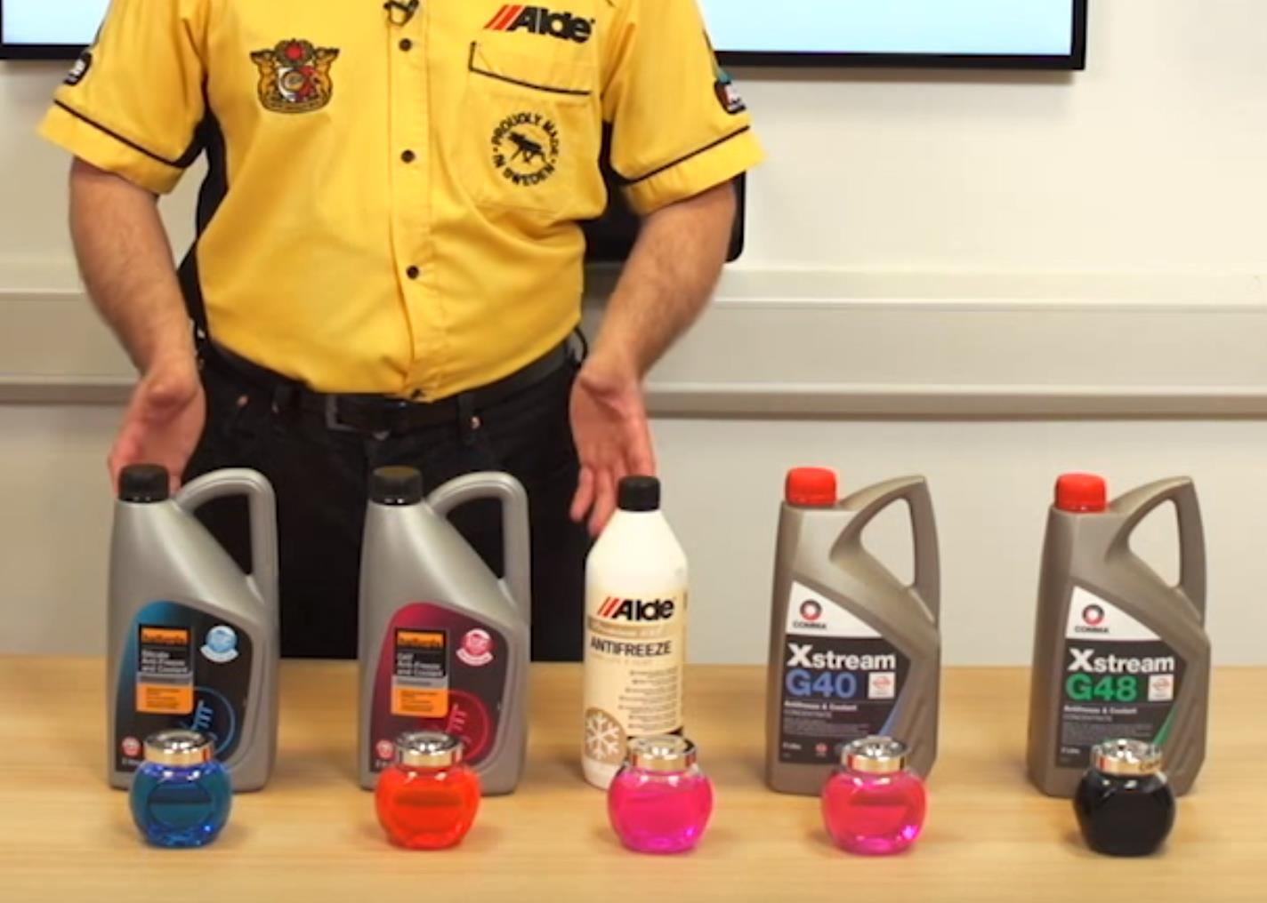 Different types of antifreeze.