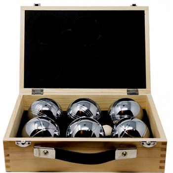 Boules in wooden case (6)