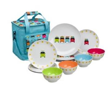 Camper Smiles 12 pc Melamine Dinner Set with 16ltr cool bag