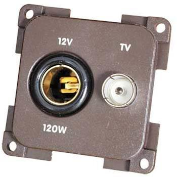 CBE 12V + TV Socket, Brown image 1