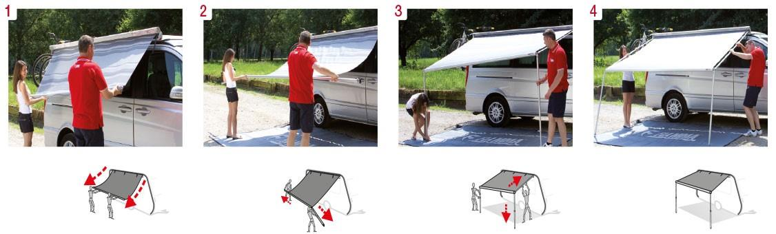 The Fiamma F35 is a very quick and easy awning to pitch up.