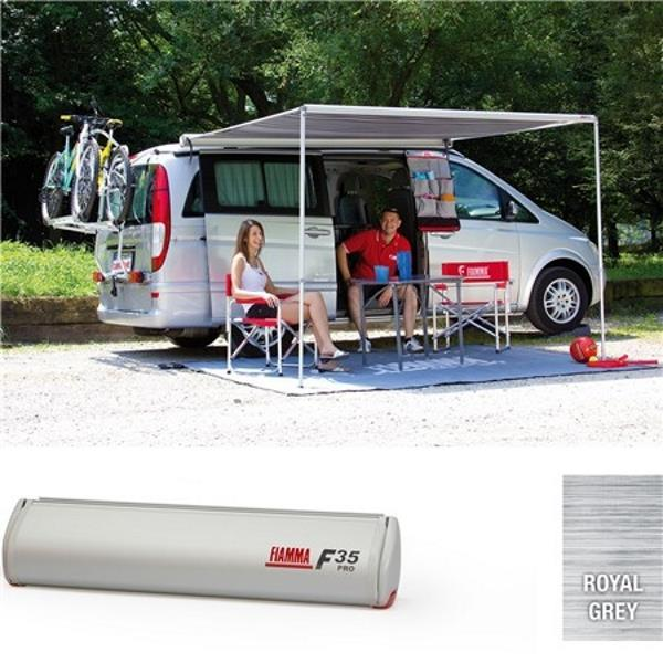 The Fiamma F35pro awning is a compact, lightweight awning perfect for the minivan or 4x4, utility vehicle or station wagon.