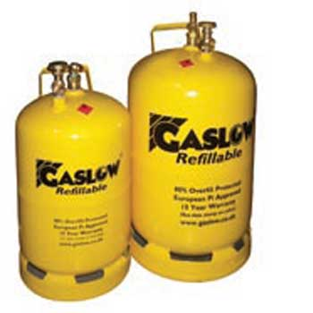 Gaslow refillable cylinders and fittings