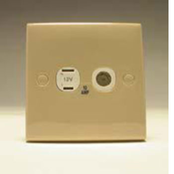 Square 2 Pin and Coaxial Socket Beige
