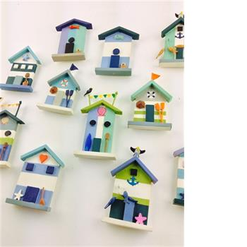 Shoeless Joe Large beach hut magnets