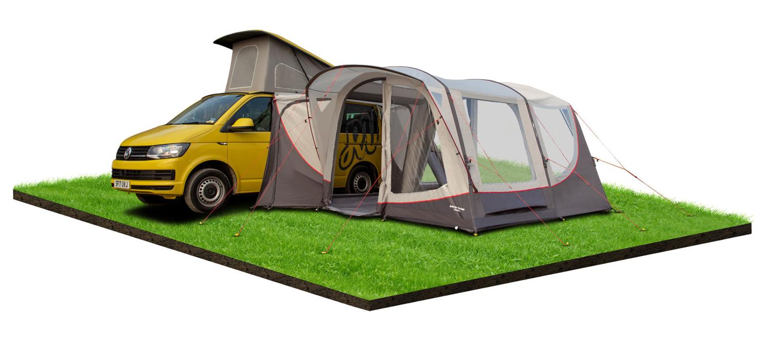 Relax and watch the hours go by in the Vango Magra shadow grey VW driveaway awning.