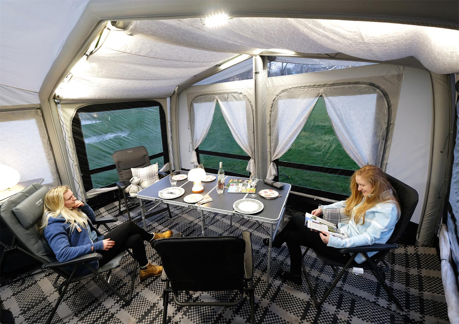 Vango's Montelena Caravan Awning with its tall profile gives you tonnes of space and really creates a wonderful airy feel.