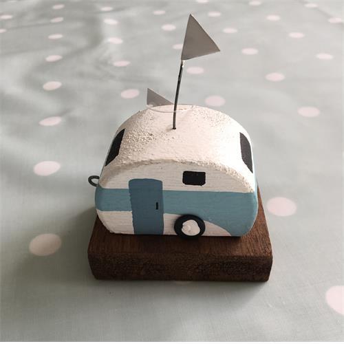 Shoeless Joe Vintage wooden caravan (light blue stripe)