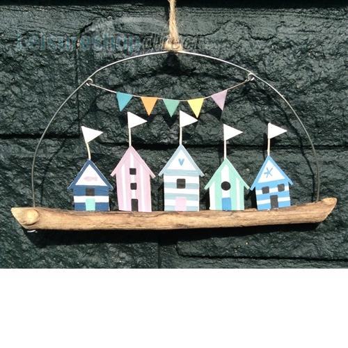 Shoeless joe blue beach huts on driftwood- wall hanging