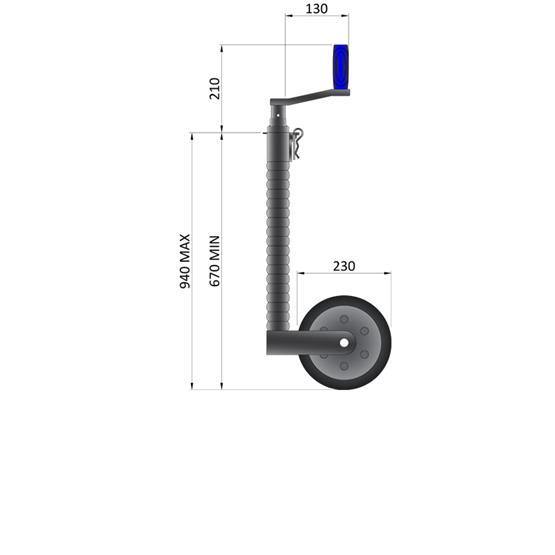 Maypole Heavy Duty Telescopic Ribbed Caravan Jockey Wheel 48mm image 5