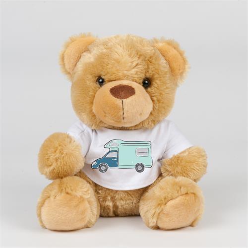 Teddy bear in Tshirt with Motorhome Sketch