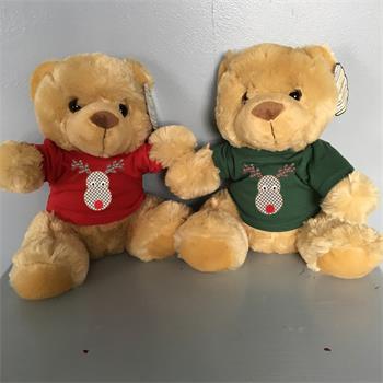 Christmas Gift Teddy in cute xmas T-shirts- Rudolf or shabby chic rose designs 2017