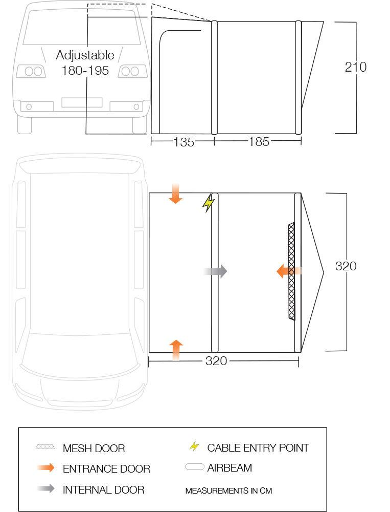 The Vango Tolga VW driveaway awning floorplan.