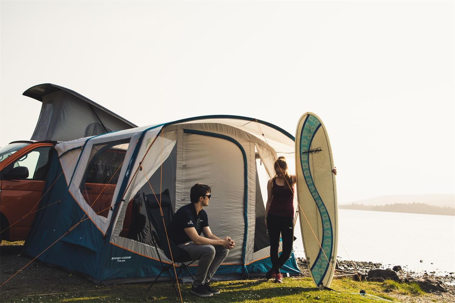 A prefect pitch set up with the Tolga driveaway awning from the Vango Sports Collection.