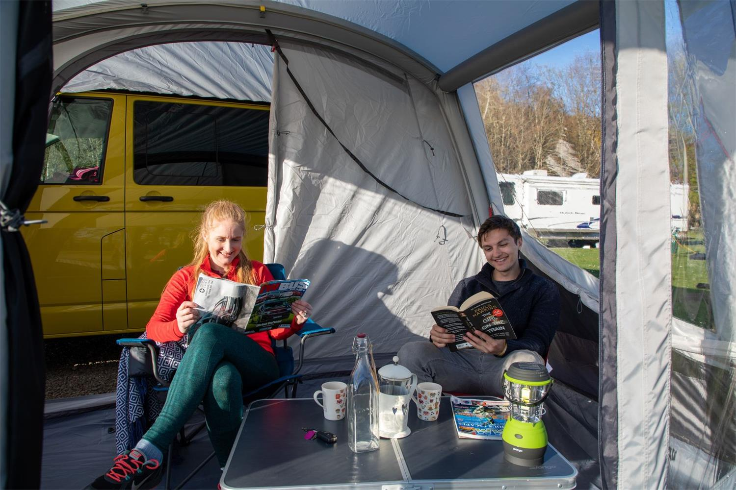 Relax and watch the hours go by in the Vango Tolga VW camper awning.