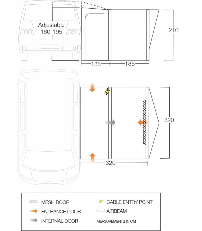 Vango Magra VW Awning Dimensions