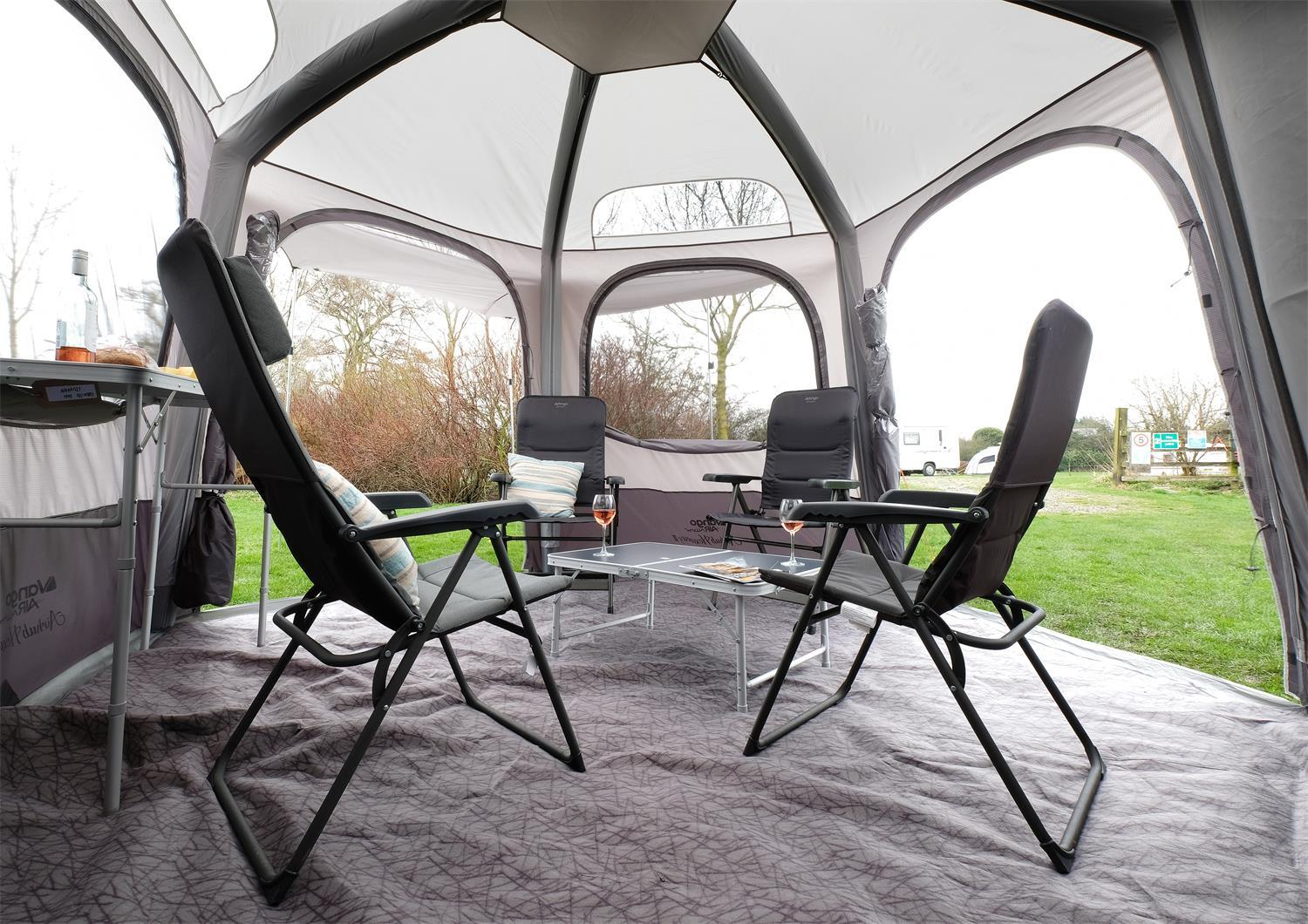 The Vango Airhub Hexaway awning has a unique shape.