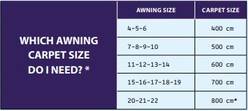 Dorema Starlon Carpet size Guide