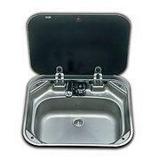 SMEV 8005 Stainless Steel Caravan Sink with Black Glass Lid