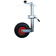 Caravan Jockey Wheel + Shaft 48mm Pneumatic Tyre Inc Clamp; also suitable as a trailer jockey wheel