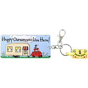 Happy Caravanners live here! Smiley Signs keyring