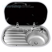 Smev 8306 Caravan Sink with Drainer with Glass Lid