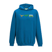 Kids Green and Yellow Dinosaurs chasing Camper Hoodie