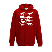 Kids Hoodie - Camper with Silhouette Dinosaurs