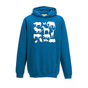 Kids Hoodie - Camper with Silhouette Animals