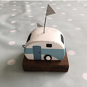 Shoeless Joe Vintage wooden caravan (light blue stripe)