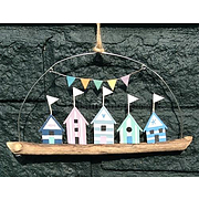 Shoeless joe blue beach huts on driftwood- wall hanging