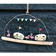 Shoeless joe caravn and flamingo on driftwood- wall hanging