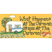 What happens at the caravan stays at the caravan Smiley sign