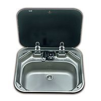 SMEV 8005 Stainless Steel Caravan Sink with Black Glass Lid