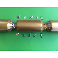 set of 10 gold christmas crackers with stylish caravan. motorhome and camping related charms